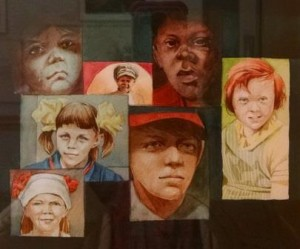 Faces of several children