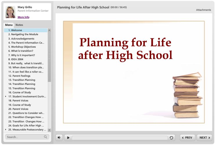first screen of the online course