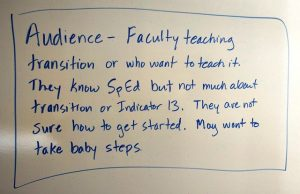 Audience statement: Faculty teaching transition or who want to teach it. They know SpEd but not transition or Indicator 13. They're not sure how to get started.