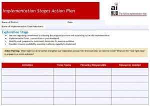 First page of Implementation Stages Action Plan template
