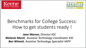 Benchmarks For College Success PPT cover