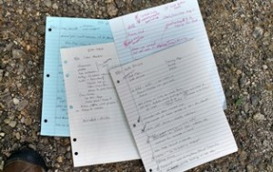 four pieces of paper covered in notes
