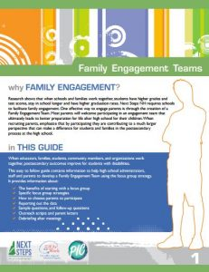 Family Engagement Teams Guide first page. of the guide.