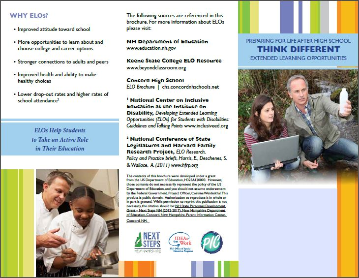 One side of the Think Different ELO brochure for parents