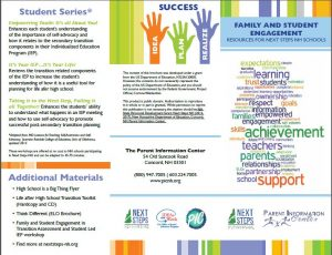One side of the Family and Student Engagements resources brochure