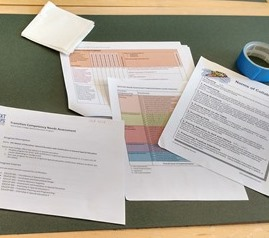 Spreadsheets and charts on a desk