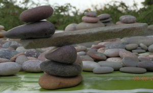 a stack of stones supporting each other